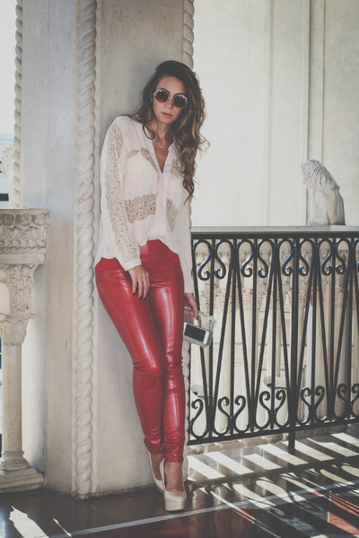 eggshell lace Chiclet Store blouse - red faux leather Chiclet Store pants