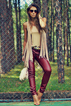gold DLu Acessórios belt - neutral Pashmina bag - beige Benes blouse