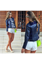 navy leather jacket Chiclet Store jacket