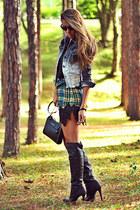 heather gray Haes jacket - black Schutz boots - green Haes dress