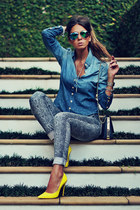 sky blue denim MacStile jeans - blue denim MacStile shirt - yellow Schutz heels
