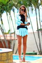 light blue Produção coat - light blue short-skirt Produção shorts