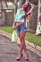light blue denim Moikana shirt - sky blue denim Moikana shorts