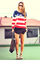 red Sheinside sweater - black asymmetric romwe shorts