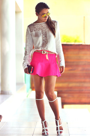 white lace detail Chiclet Store blouse - hot pink Chiclet Store skirt