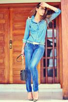 sky blue denim Levis shirt - Levis jeans - brooch romwe earrings