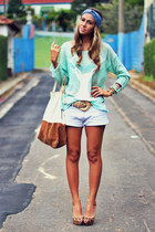 aquamarine romwe sweater - brown leopard Schutz heels