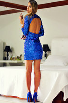blue Schutz shoes - blue sequin romwe dress - heather gray Pedra Gaia bracelet