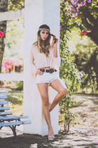 ivory Forever 21 shorts - neutral Chiclet Store blouse - light pink Schutz pumps