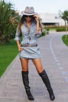 black over the knee Schutz boots - periwinkle denim Degrant dress
