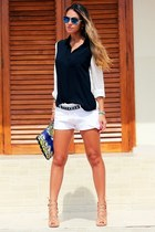 bicolor Forever 21 shirt - lace Limited shorts - mirorred D&G sunglasses