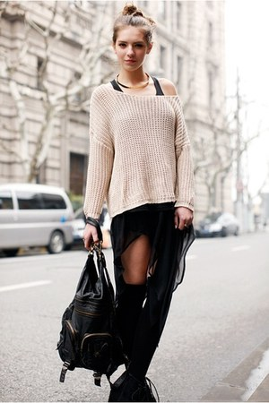 light pink sweater - black bag - black long socks - black skirt