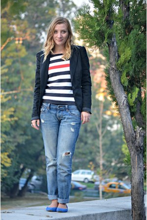 navy ripped Old Navy jeans - ivory stripes no name sweater
