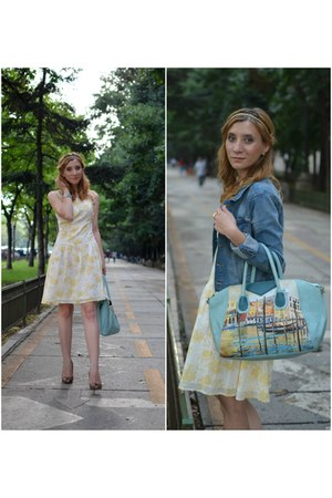 meli melo bag - Zara shoes - colins dress - H&M jacket
