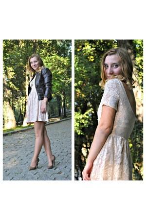 lace Stradivarius dress - faux leather Stradivarius jacket - peep toe Zara heels