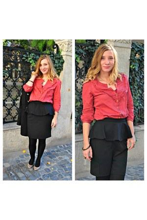 black peplum new look skirt - black H&M coat - heather gray Bershka heels