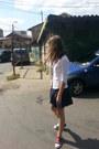 White-bershka-shirt-navy-stradivarius-skirt-black-diy-sneakers