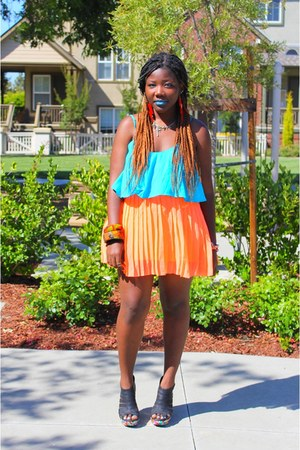 sky blue Forever 21 dress - carrot orange neon Urban Outfitters skirt
