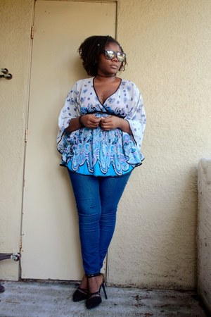 kimono Local store top - quay sunglasses - denim pants Forever 21 pants
