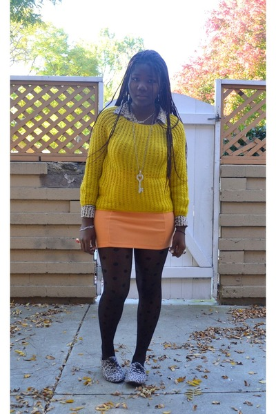 dotted romwe stockings - printed H&M shirt - H&M skirt - knitted romwe jumper