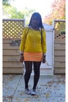 dotted romwe stockings - printed H&M shirt - H&M skirt - knitted romwe jumper