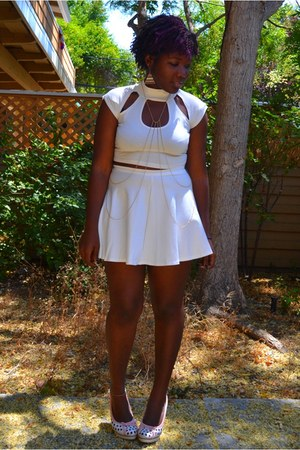 white crop top GoJane top - white Ross heels - white skater skirt GoJane skirt