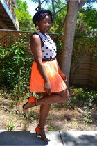 carrot orange neon skirt Urban Outfitters skirt - black H&M hat