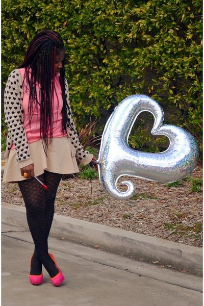 black heart cardigan H&M cardigan - hot pink pink shirt H&M shirt