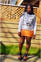 white tiger sweater Forever 21 sweater - carrot orange H&M skirt