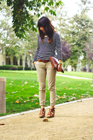 brown madewell wedges - navy madewell shirt - brown American Apparel bag