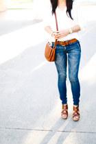 navy madewell jeans - burnt orange Brandy & Melville bag