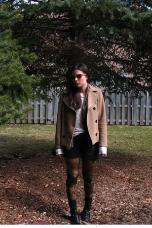 H&M coat - Gap sweater - H&M tights - vintage boots - vintage scarf