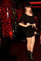 black Jeffrey Campbell boots - halloween store skirt - black H&M top - beige Ber