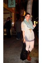 gray H&M dress - brown vintage boots - white falke tights - black Monserat De Lu