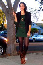 black vintage blazer - brown vintage boots - black Express tights