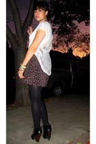 t-shirt - Urban Outfitters skirt - Target tights - Dolce Vita shoes - random bra