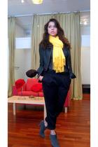 scarf - Express jacket - Wet Seal blouse - felina lingerie bra - forever 21 pant
