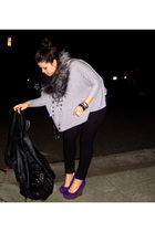 purple Jeffrey Campbell shoes - black Riki leggings - gray Riki sweater - black