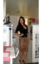 BCBG blazer - forever 21 skirt - felina lingerie bra - Target shoes