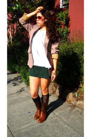 beige vintage YSL blazer - brown vintage Buffalo Exchange boots