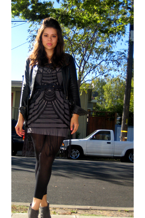 Express jacket - H&M dress - H&M dress - thrifted belt - Beauty & Attitude leggi