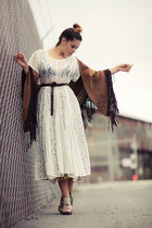cream lace sheer vintage dress - light brown leopard sheer thrifted skirt - dark