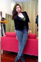 MaxAzria blazer - American Apparel intimate - Forever 21 bra - Wet Seal jeans -