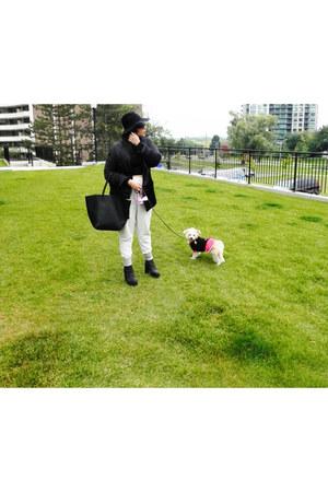 black Topshop boots - black Topshop coat - black fedora Topshop hat
