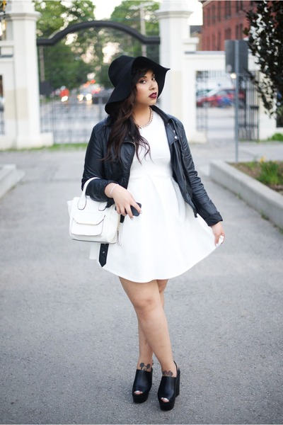 black Topshop shoes - white mendocino dress - black H&M hat - black H&M jacket