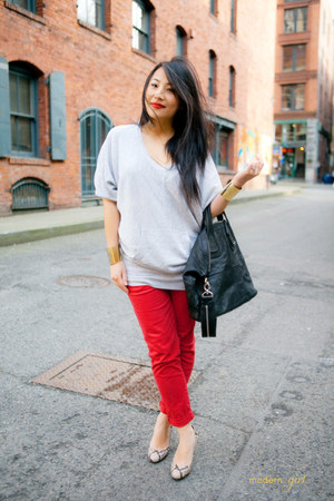 heather gray Plastic Island sweater - black Givenchy bag - red Forever 21 pants