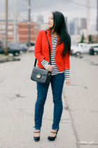 navy J Brand jeans - red H&M blazer - black Celine bag - navy Miu Miu heels - wh