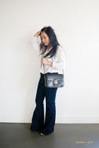 navy J Brand jeans - black vintage classic Celine bag - white sheer Zara blouse