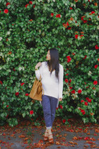 white Zara sweater - camel Celine bag - navy Zara pants