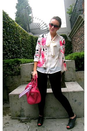 vintage sweater - leather Steve Madden bag - bow Forever 21 blouse